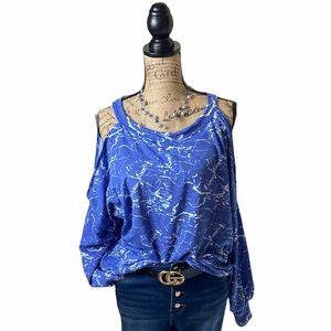 Eldridge blue/white cold shoulder long sleeve top